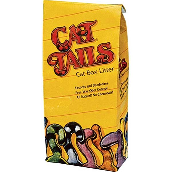 Photo of Cat Tails Litter in a bright yellow bag with artistic cat tails in different colors across the bottom. Package says 'absorbs and deodorizes, four way odor control, all natural! no chemicals!'