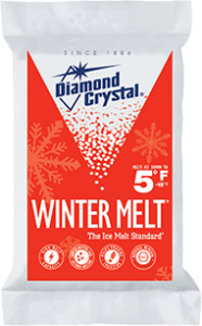 diamond crystal winter melt in white package with red graphics and white snowflakes superimposed.