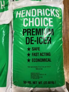 Photo of Hendricks Choice De-icer, which comes in green bag with white edges. Text on front says name and 'safe, fast-acting, economical.' The bag shown is 50 lbs.