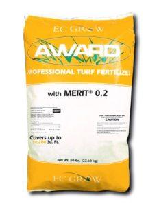 award merit grub control in yellow 50 lb bag with white stripe across center.