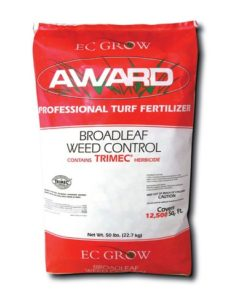 weed n feed 2205 award professional turf fertilizer, broadleaf weed control, contains trimec herbicide. Bag is red with white stripe.