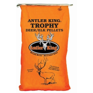 antler king trophy deer/elk pellets in bright orange bag with image of deer and antler king logo.