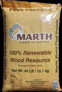 Brown bag of Marth Fiber in Motion, 100% Renewable Wood Resource. 40 lbs.