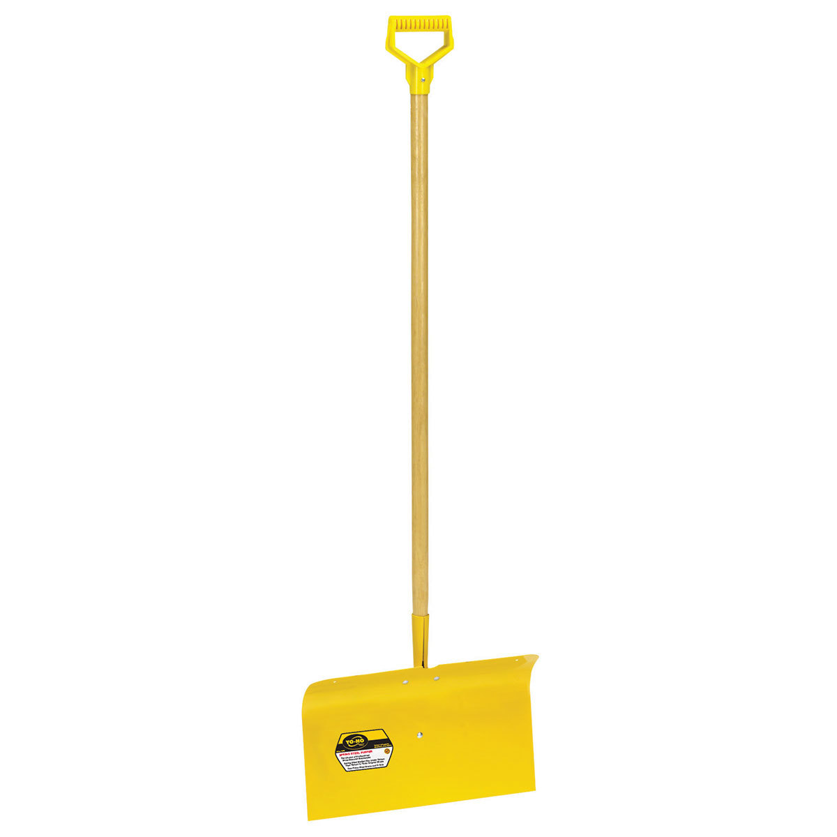 Steel Snow Pusher is yellow with a wood handle.