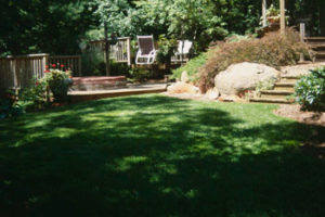 Photo of backyard with green grass, bushes, a rock, steps, and some lawn chairs.