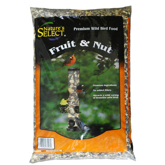 nature's select bag of fruit and nut mix, 15 lbs. Bag has orange surround with a photo of birds at a bird feeder.