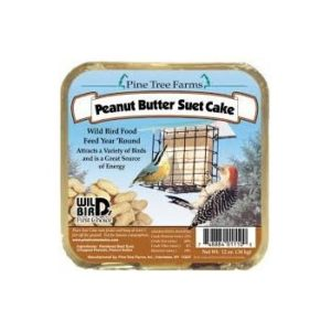 peanut blend suet cakes in square package with blue label and photo of suet cake in cage with two birds around it.
