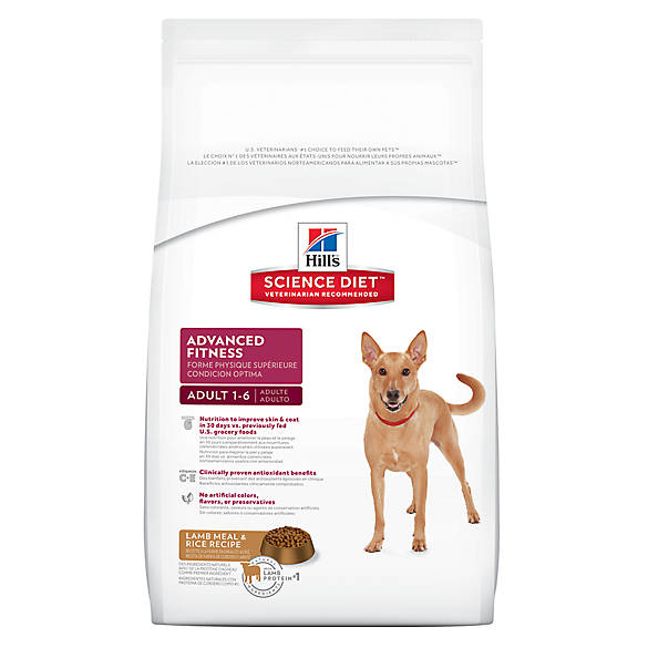 canine lamb rice. white bag 'advanced fitness' with dog.