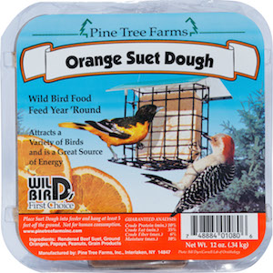Image of Orange Suet Dough. Image has an orange colored banner with a suet cage, bird, and two orange slices.