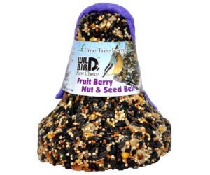 Wild Bird Bell Fruit Berry, Nut & Seed Bell. Shaped like a bell with packaging around top.