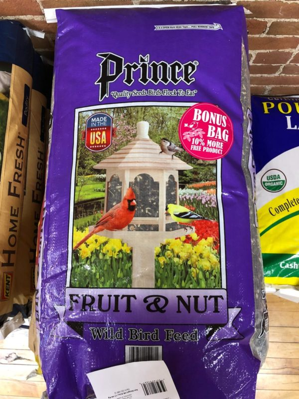 Prince Fruit nut mix, purple bag with images of cardinals at a bird feeder.