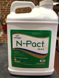 N-PACT liquid fertilizer bottle, 2.5 gallons