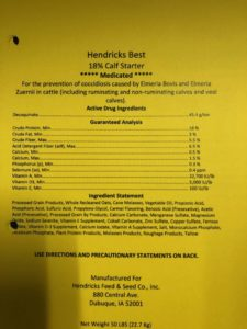 hendricks best 18% calf starter ingredients. Please contact Hendricks Feed & Seed Co., Inc. for full list of ingredients.