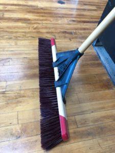 "Push Broom- Fine, Course - 24"" Coarse, black bristles, red top, wood handle"