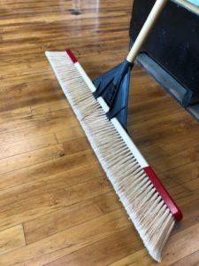 "Push Broom- Fine, Course - 36"" Fine, white bristles, red top, wooden handle"