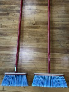 Kitchen Brooms, two, red handle, blue bristles