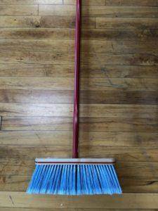 Kitchen Broom - large Head, blue bristles, red handle