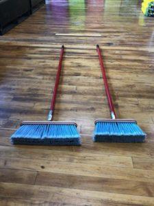 Kitchen Broom, blue bristles, red handle