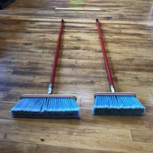 Kitchen Broom, blue bristles, red handle