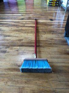 Kitchen Broom - Small Head, blue bristles, red handle