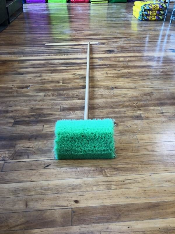Large Wash Brush with green bristles, blue top, and metal handle.