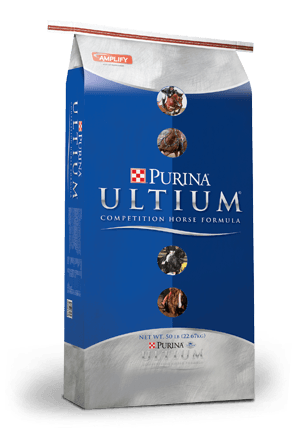 Purina Ultium Competition Horse Formula. bag is blue with silver top and bottom for horses.