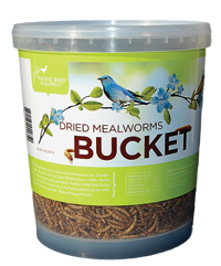 bucket of dried mealworms with green label with a blue bird on it.