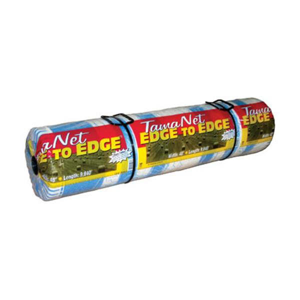 Photo of TamaNet Net Wrap which is a clear roll with a red and yellow packaging which says the name.